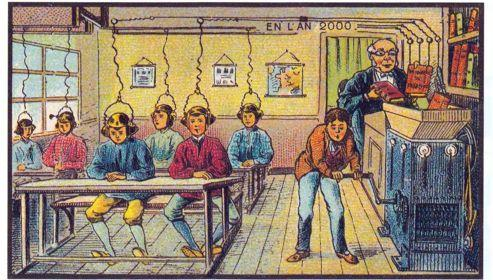 Cette gravure du début du XXe siècle imagine ce que l'école aurait pu devenir en l'an 2000.