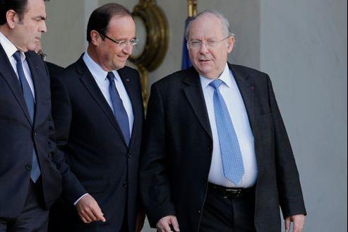 François Hollande et Richard Pasquier, dimanche à l'issue d'une rencontre à l'Élysée.