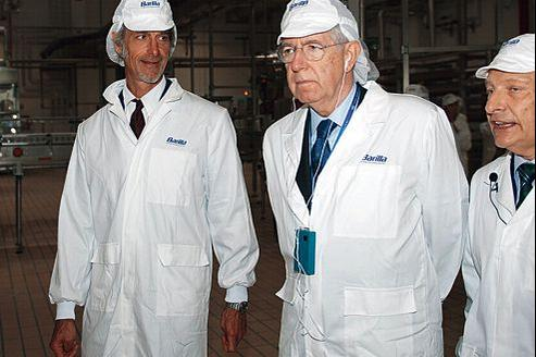 Mario Monti a inauguré, lundi 8 octobre, la nouvelle usine Barilla à Rubbiano, près de Parme.