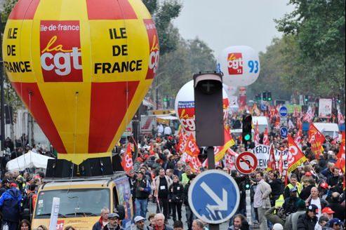 Manifestation CGT le 9 octobre à Paris contre le chômage dans l'industrie française.