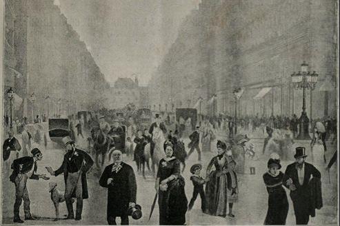 Le Tout-Paris (reproduction d'un tableau de Charles Castellani, 1889). En bas à droite, Sarah Bernhardt au bras d'Henry Fouquier.