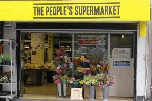 The People's Supermarket est situé dans une petite rue commerçante du quartier de Holborn, en plein coeur de Londres.