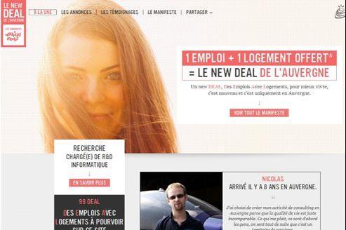 Le site du «New Deal de l'Auvergne» regroupe offre d'emplois et témoignages.