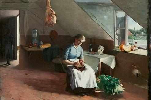 Fransk kjøkkeninteriøsr («Intérieur d'une cuisine française»), peint par Asta Nørregaard (1881).