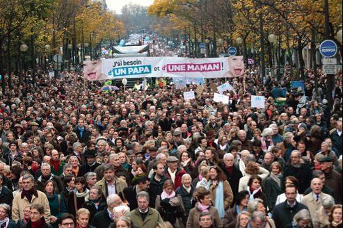 Nombre de manifestants se disaient samedi moins opposés au mariage homosexuel en lui-même, qu'à l'adoption qui selon eux en découlera (ici la manifestation à Paris, dimanche).