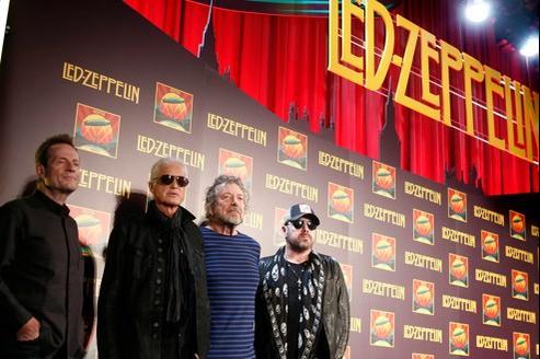 John Paul Jones, Jimmy Page, Robert Plant et Jason Bonham, le 9 octobre 2012, lors de la conférence de presse annonçant la sortie du CD et du DVD Celebration Day.