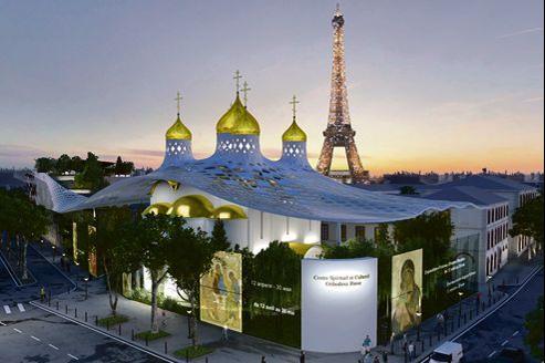 Le projet de l'église orthodoxe (ici une vue d'artiste) s'étend sur 4000 m² de terrain jouxtant le palais de l'Alma.