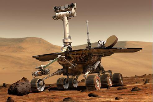 Dessin d'ordinateur d'un robot se déplaçant sur Mars.