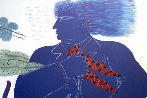 Alecos Fassianos, Cycliste à l acravate, 1985, huile sur toile estimés 35.000 à 45.000 euros. (Piasa)