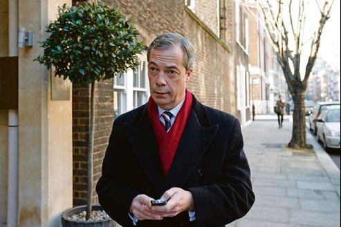 Nigel Farage, vendredi à Londres, alors qu'il se rend au Studio Millbank pour une interview.