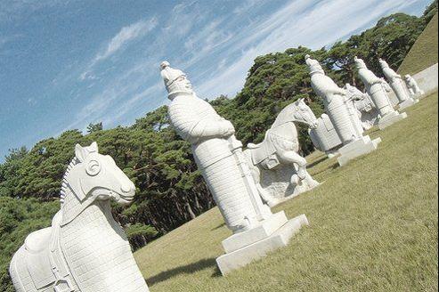 Le site de la tombe du roi Tongmyong, classé au patrimoine de l'Unesco, au sud de Pyongyang.
