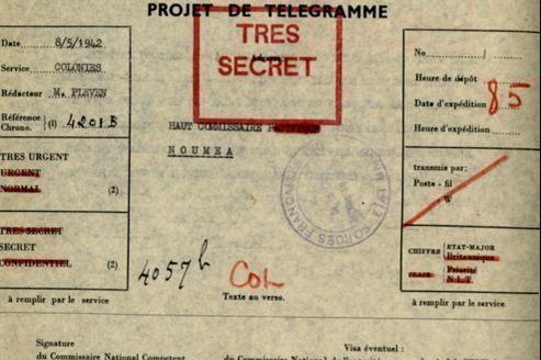 Message envoyé de Londres à Georges Thierry d'Argenlieu, le 8 mai 1942.
