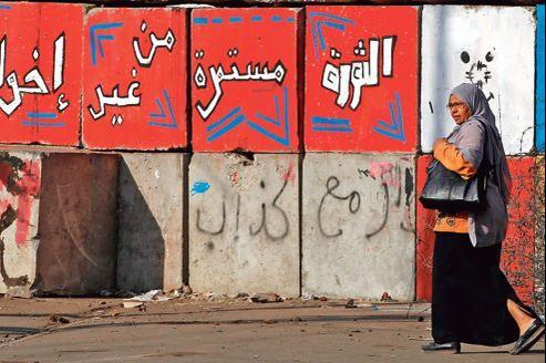 Devant le palais présidentiel, au Caire, jeudi. Le slogan sur le mur promet que «la révolution continuera sans les Frères musulmans».