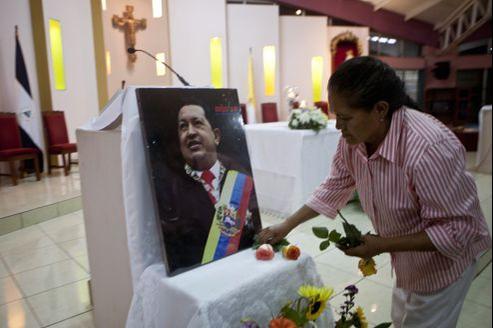 Une cérémonie de soutien à Chavez à Managua, Nicaragua.