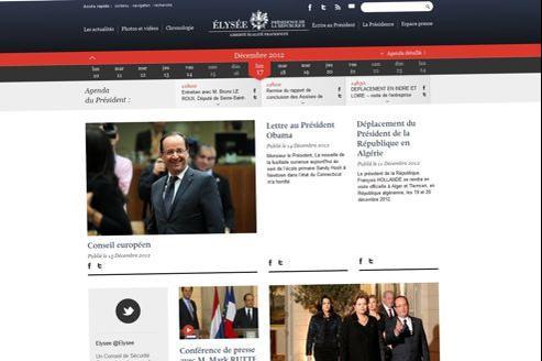 La nouvelle page d'accueil du site de l'Élysée.