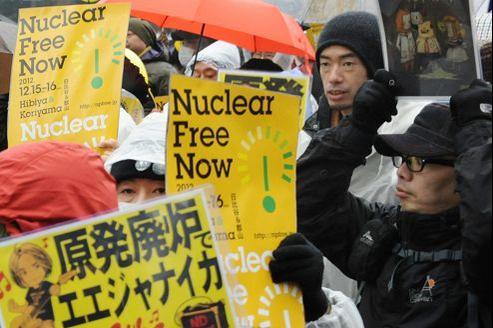 Manifestation anti-nucléaire à Tokyo le 15 décembre. Le nouveau parti anti-nucléaire lancé au Japon avant les élections se présente comme la troisième force politique du pays.