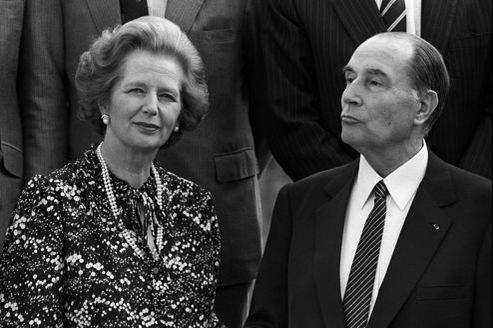 Margaret Thatcher, avec François Mitterrand.