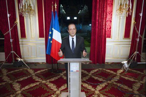 François Hollande lundi soir à l'Élysée pour ses premiers voeux aux Français.
