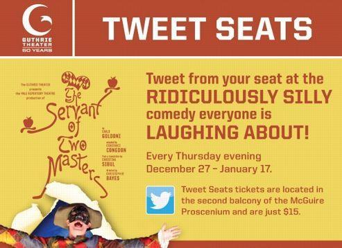 L'offre «Tweet Seats» du Guthrie Theater concerne quatre réprésentations d'Arlequin valet de deux maîtres de Goldoni (DR).