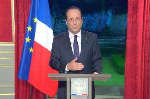 François Hollande, lundi soir, depuis l'Élysée.