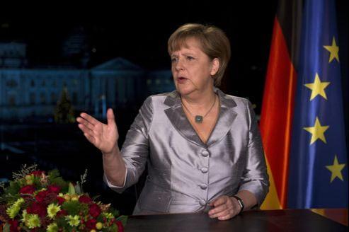 Angela Merkel, la chancelière allemande, durant l'enregistrement de son allocution pour la nouvelle année qui sera diffusée lundi soir.