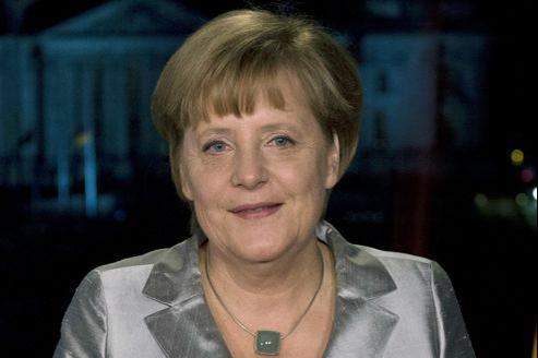 Angela Merkel pendant l'enregistrement de ses vœux télévisés, dimanche à Berlin.