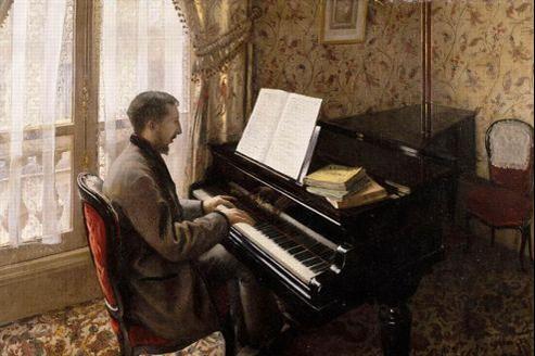 Portrait de Martial Caillebotte au piano peint par son frère Gustave. (DR)
