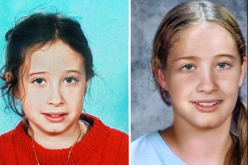 Montage d'une photo d'Estelle Mouzin, issue de l'avis de recherche lors de sa disparition en 2003 ( à gauche) et d'une photo distribuée par la police à la presse le 19 janvier 2010 la représentant vieillie.