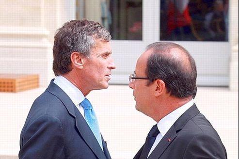 Le ministre délégué au Budget, Jérôme Cahuzac, et le président François Hollande, en juillet dernier.
