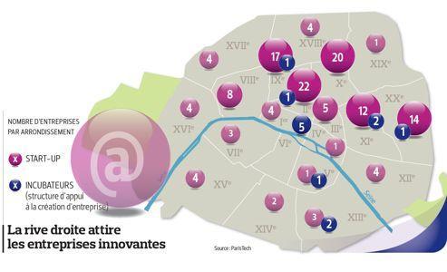 La carte des start-up parisiennes