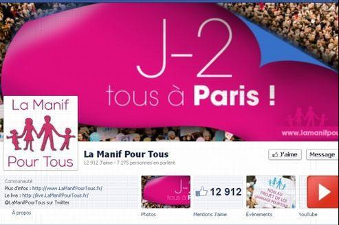 Capture d'écran de la page Facebook de La Manif pour Tous.