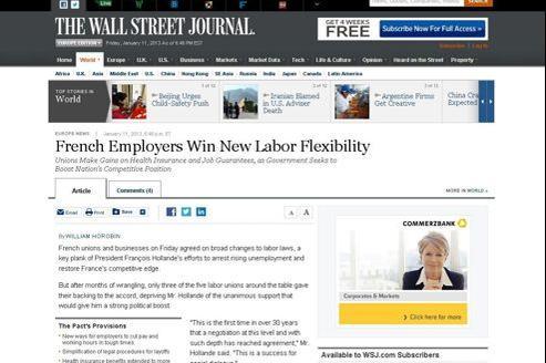 Pour le Wall Street Journal, «les employeurs français gagnent une nouvelle flexibilité du travail».