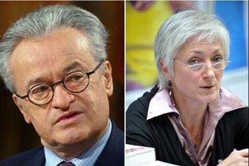Alain Gérard Slama et Sylvie Germain. Crédits photo: Jean-Pierre Muller/Miguel Medina/AFP