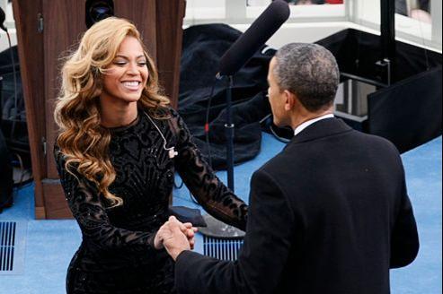 Beyoncé et Barack Obama, sur le balcon du Capitole, à Washington.