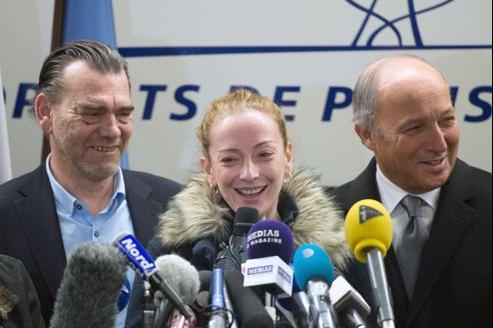 Florence Cassez, lors de la conférence de presse qu'elle a donnée jeudi à l'aéroport de Roissy.