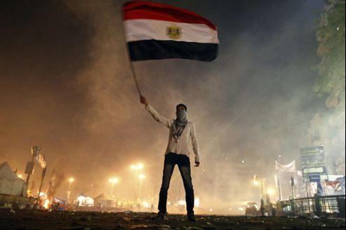 Deux ans après le départ de Hosni Moubarak, un Égyptien manifeste place Tahrir.