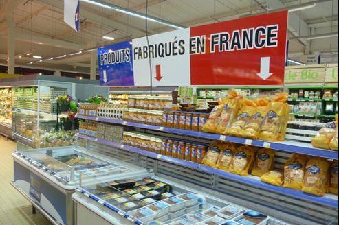 Le magasin E. Leclerc de Lanester, dans le Morbihan, propose 80 produits alimentaires dans un rayon dédié au «fabriqué en France». Crédit: DR.