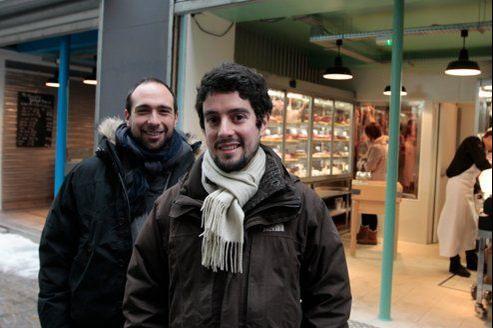 Alexandre Drouard et Samuel Nahon, fondateurs de Terroirs d'avenir, épicerie, poisonnerie et boucherie à Paris.