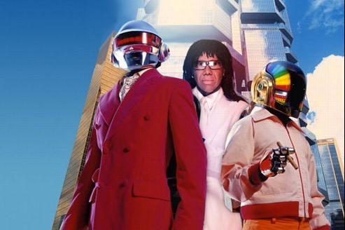 Les Daft Punk et Nile Rodgers, sur le blog de ce dernier. Crédits photo: www.nilerodgers.com.