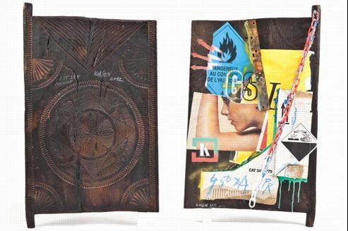Au recto, une sculpture Zakimaniry. Au verso, «CAT395/Corrosif», de Peter Klasen.Ce volet a été acquis pour 10.000 euros. (Crédit: Christie's)
