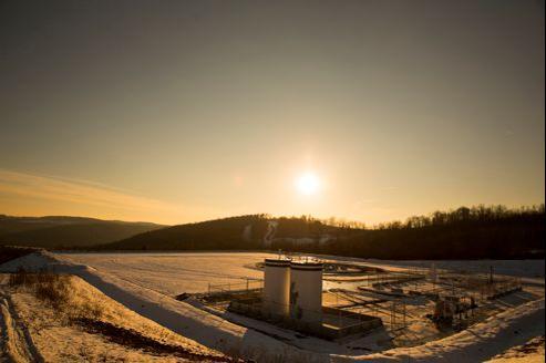 Une exploitation de gaz naturel en Pennsylvanie, une fois le forage achevé.