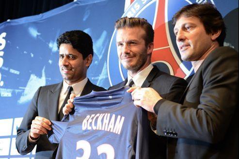 David Beckham, le 31 janvier 2013, lors de l'annonce de sa venue pour 5 mois au Paris-Saint-Germain.