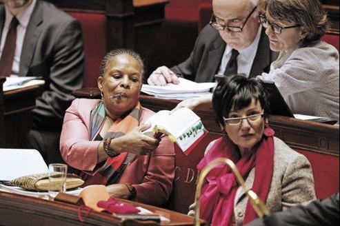 Christiane Taubira à l'Assemblée, ce mardi.