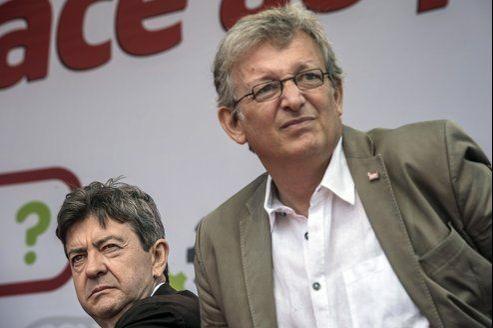 Le secrétaire national du PCF, Pierre Laurent (à droite), avec le coprésident du Parti de gauche, Jean-Luc Mélenchon.