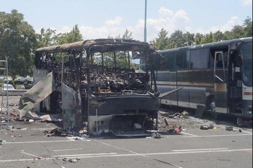 La carcasse calcinée du bus dans lequel eut lieu l'attentat qui coûta la vie à six Israéliens en juillet 2012, à Burgas.