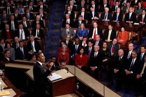 Barack Obama devant le Congrès à Washington, le 24 janvier 2012, lors du dernier discours sur l'état de l'Union.