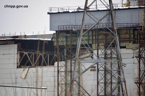 Vue des dégâts sur une image communiquée par l'ancienne centrale nucléaire de Tchernobyl.