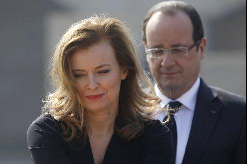 Valérie Trierweiler et François Hollande, à New Delhi ce jeudi.