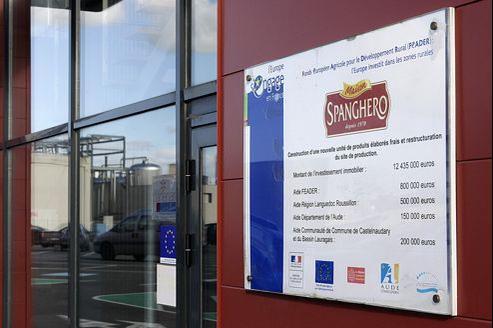 L'entrée de l'usine Spanghero à Castelnaudary (Languedoc-Roussillon).