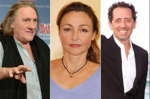 Gérard Depardieu, Catherine Frot et Gad Elmaleh. (Abacapress.com)